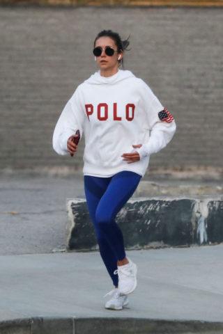 Nina Dobrev enjoying a jog in Los Angeles