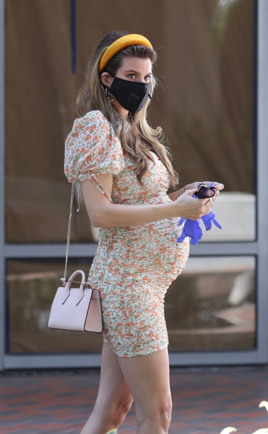 Pregnant Rachel McCord Wearing Mask Out in Santa Monica