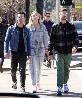 Pregnant Sophie Turner in a Washed Out Denim Jumpsuit Out wioth Joe Jonas in Los Angeles