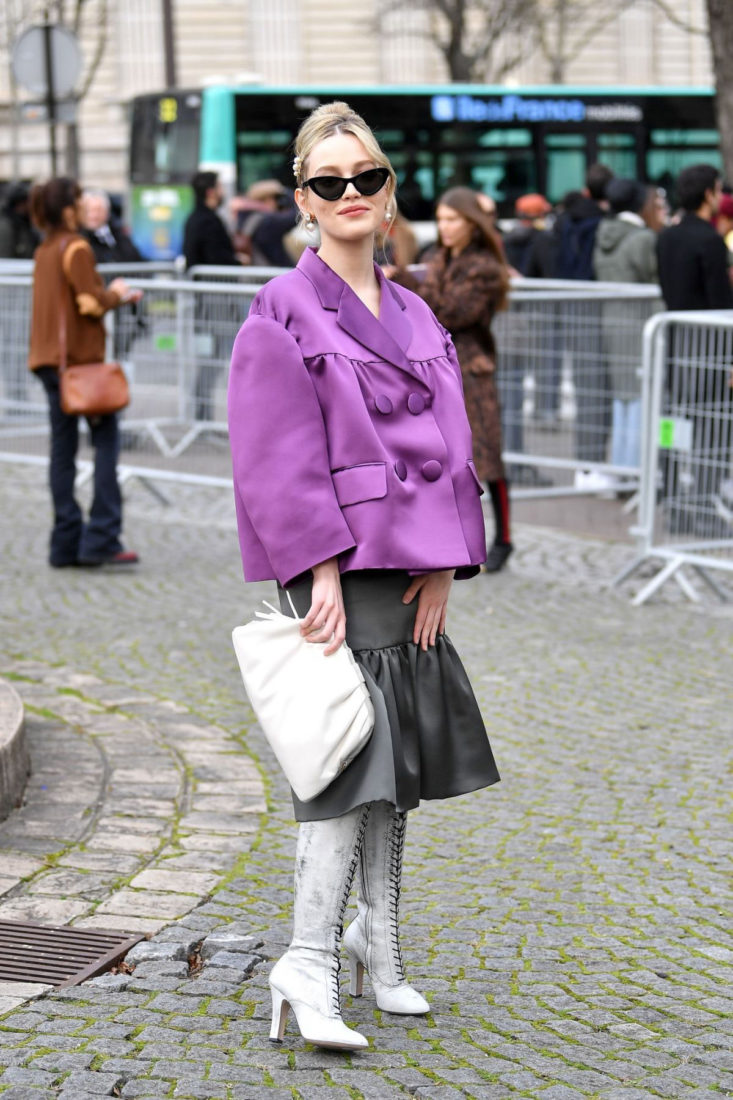 Victoria Pedretti Arriving at Miu Miu Show at Paris Fashion Week