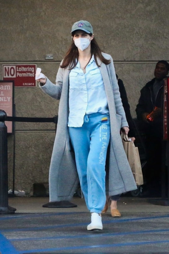Alexandra Daddario wearing face mask while shopping in Los Angeles