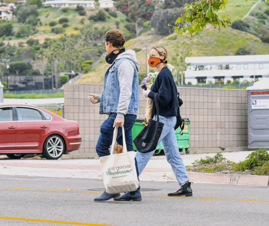 Brie Larson and Elijah Allan-Blitz wear face masks and gloves out shopping in Malibu