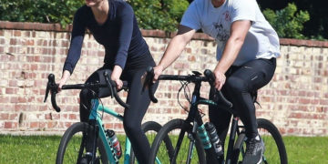 Mia Goth and Shia LaBeouf Bike Ride in Pasadena