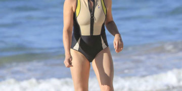 Natalie Bassingthwaighte in a Black Swimsuit on the Beach in Byron Bay