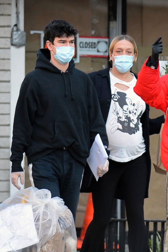 Pregnant Chloe Sevigny and Sinisa Mackovic Wearing Mask Out in New York