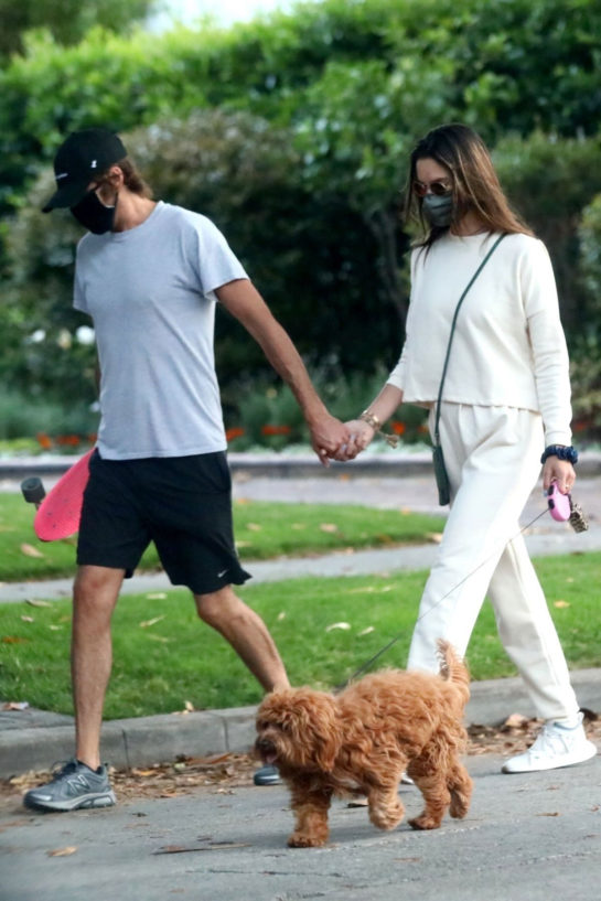 Alessandra Ambrosio out walking her dog in Brentwood