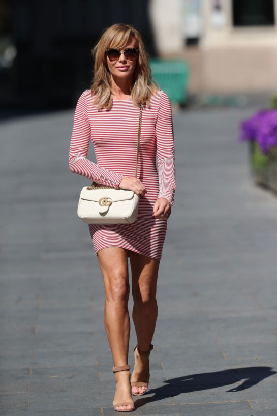 Amanda Holden in Tight Dress Leaves Global Radio in London