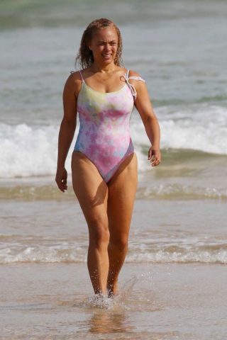 Connie Mitchell in a Colorful Swimsuit on the Beach in North Bondi