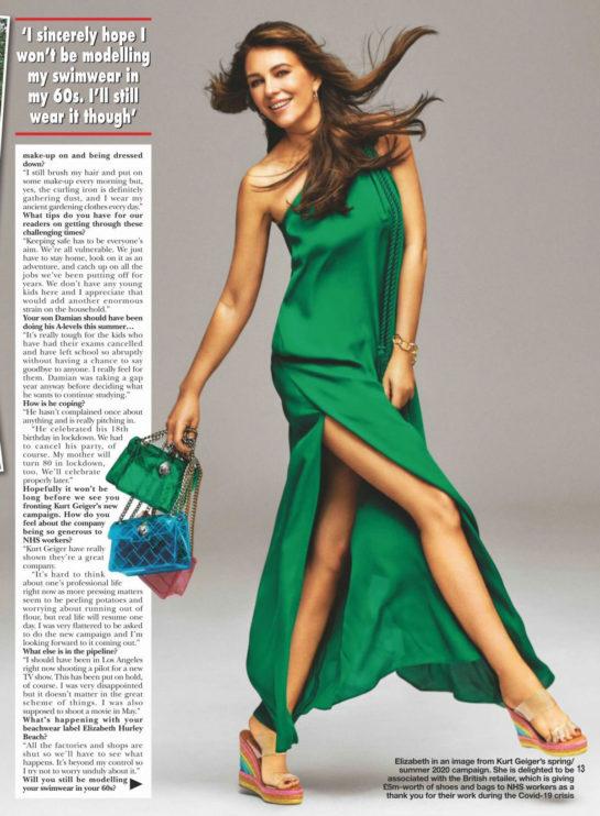 Elizabeth Hurley in Hello! Magazine, UK April 2020