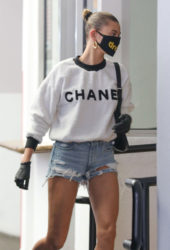 Hailey Bieber in Denim Shorts Heading to a Medical Building in Beverly Hills