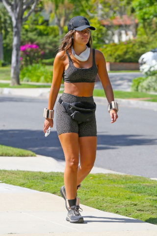 Hannah Ann Sluss in Shorts and Sports Bra Out for a jog in Beverly Hills