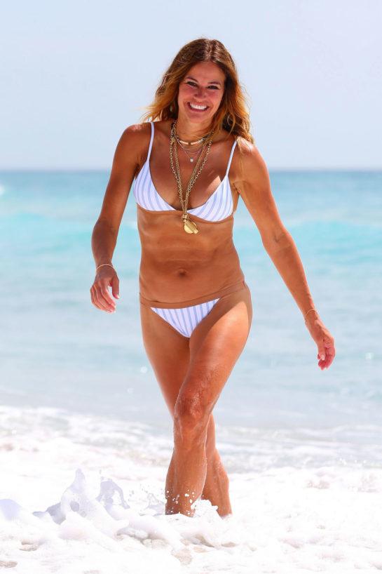 Kelly Bensimon in a two-piece White Bikini in Palm Beach