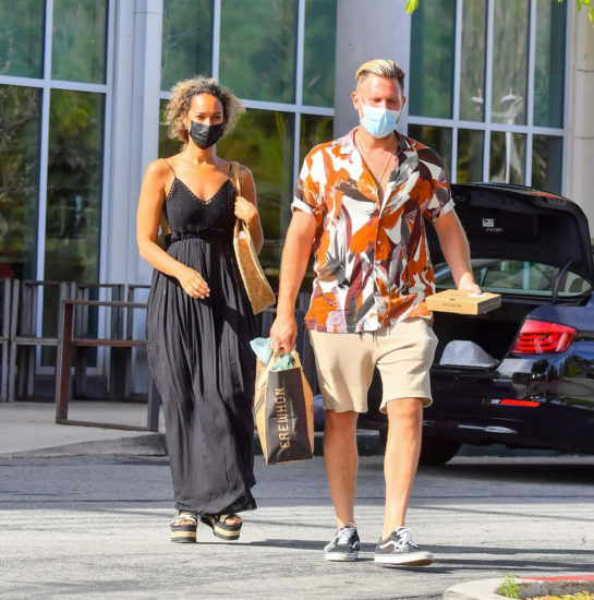 Leona Lewis in a Black Dress Goes Shopping Out with Dennis Jauch in Calabasas