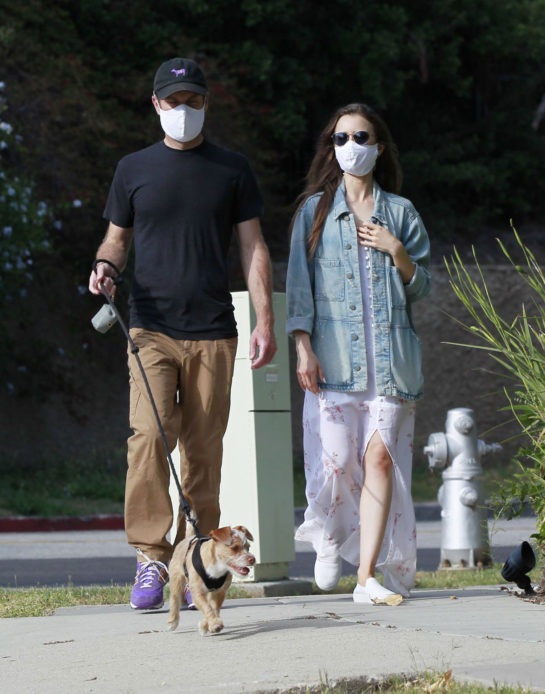 Lily Collins and Charlie McDowell Out with Her Dog in Los Angeles