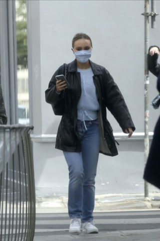 Lily-Rose Depp and Vanessa Paradis wear face masks in Paris