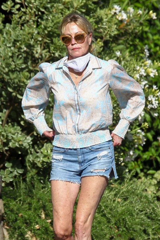 Melanie Griffith in Denim Shorts Out in Beverly Hills