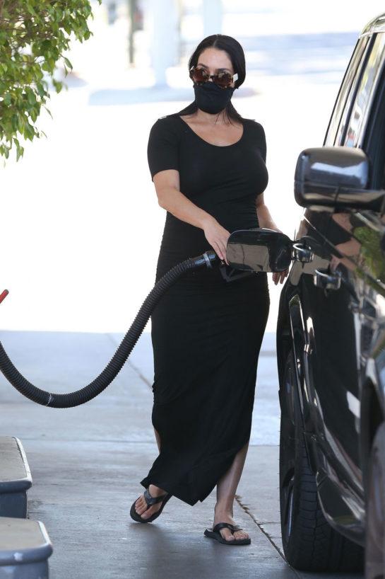 Pregnant Nikki Bella at a Gas Station in Studio City