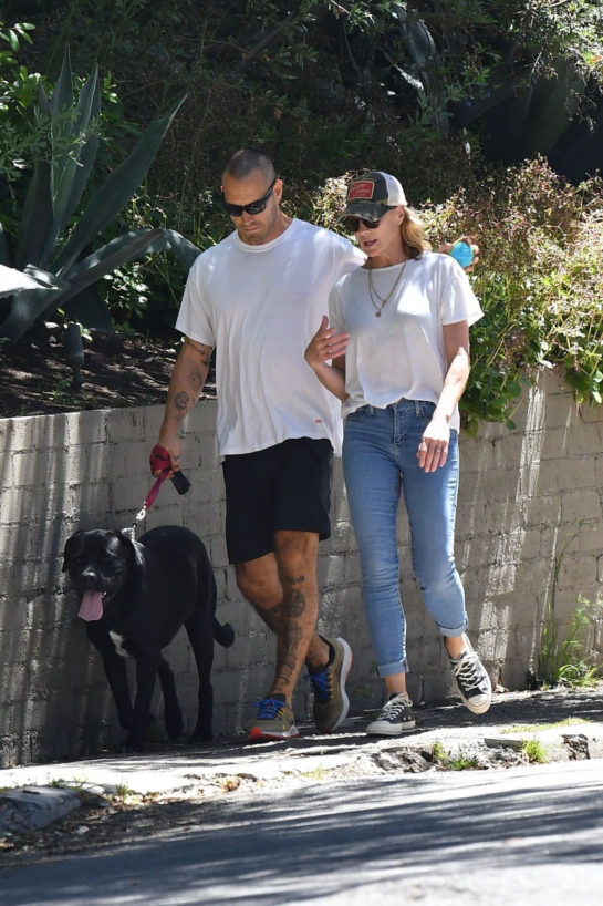 Robin Wright and Clement Giraudet Out with Their Dog in Pacific Palisades