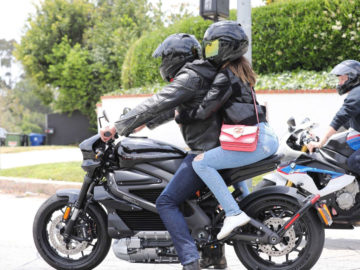 Ana De Armas out cruising with Ben Affleck on his Harley-Davidson motorcycle