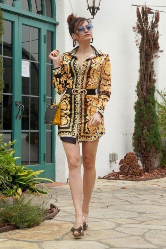 Blanca Blanco in a Yellow Dress Out in Santa Barbara