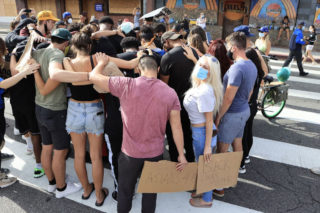 Courtney Stodden joined protesters in Los Angeles