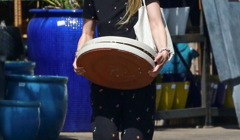 Celebrity Shopping – Dakota Fanning Shopping at a Plant Nursery in LA