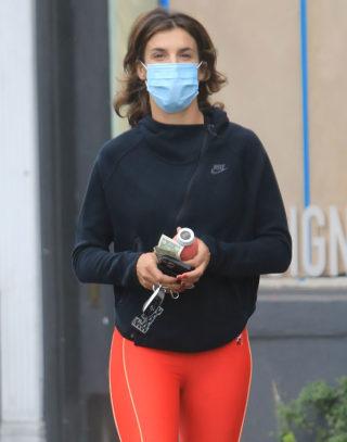 Elisabetta Canalis in bright orange leggings in Los Angeles