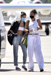 Hailey Bieber and Bella Hadid Arrives at Airport in Sardinia