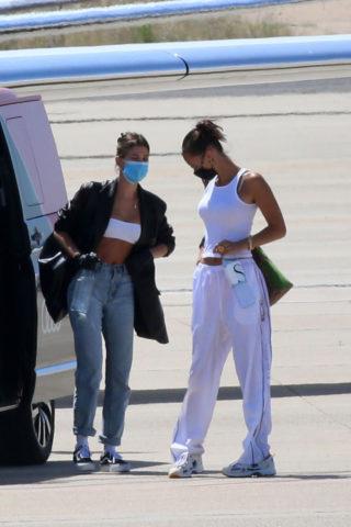 Hailey Bieber and Bella Hadid Arrives at Airport in Sardinia