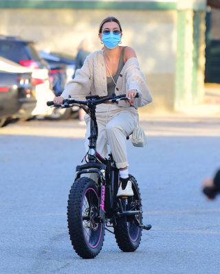 Hailey Bieber and Justin Bieber Riding Electric Bikes in Los Angeles