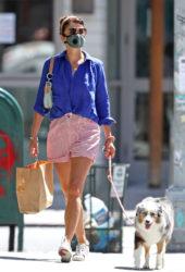 Helena Christensen walking her dog in New York City