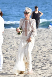 Laeticia Hallyday celebrating the 77th anniversary of the birth husband Johnny Hallyday's birthday at a beach in Malibu