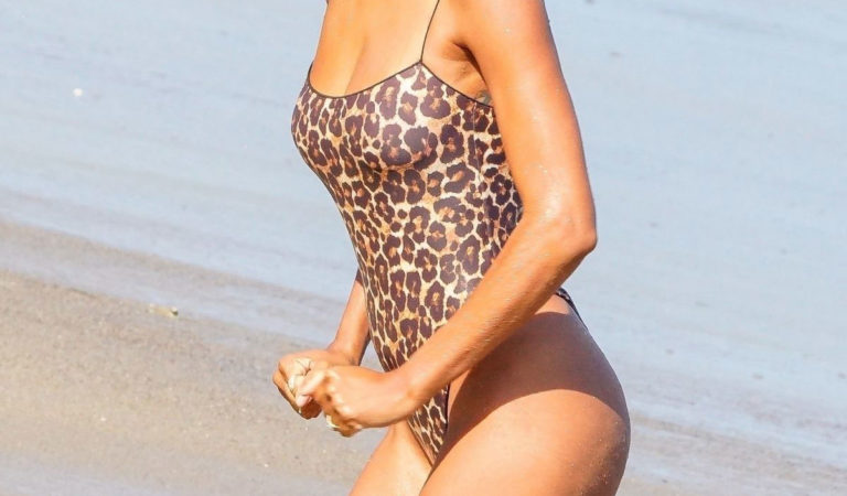 Celebrity Swimsuit – Lais Ribeiro in Animal Print Swimsuit at a Beach in Malibu