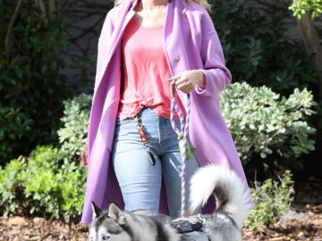 Laura Dern walking her dog in Pacific Palisades