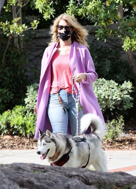 Laura Dern walking her dog in Pacific Palisades