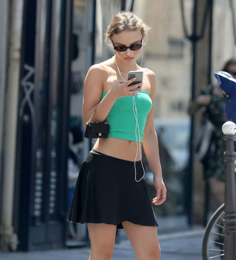 Lily-Rose Depp in Green Crop Top Out and About in Paris