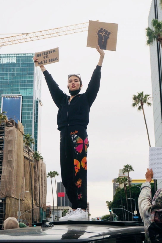 Madison Beer joins the Los Angeles protests