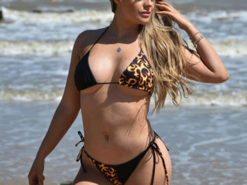 Megan Clark in Black Bikini on the beach in Frinton
