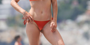 Michelle Hunziker in Bikini at the Beach in Varigotti
