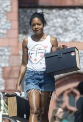 Naomie Harris in Denim Shorts Out and About in London