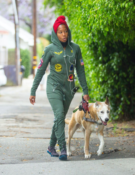 Regina King takes a walk with her dog in Los Angeles