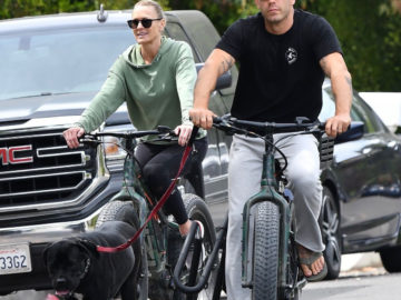 Robin Wright and Clement Giraudet Go For a Bike Ride with Their Dog