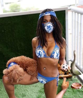 Sinitta in a Chelsea FC Bikini