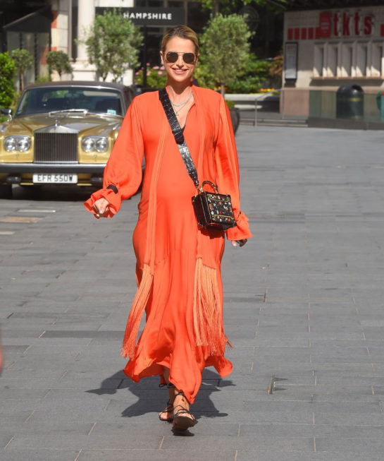 Vogue Williams in a Orange Dress Leaves Global Radio in London
