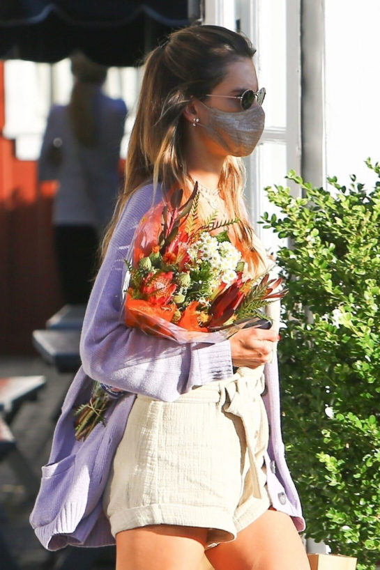 Alessandra Ambrosio Shopping Flowers at Brentwood Country Mart