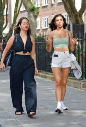 Alexandra Cane in Sport Bra and Shorts Out with a Friend in Notting Hill