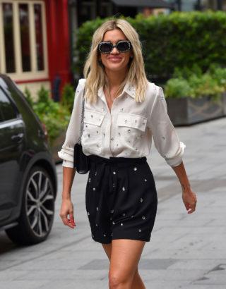 Ashley Roberts in Mini Skirt Leaves Heart Radio in London