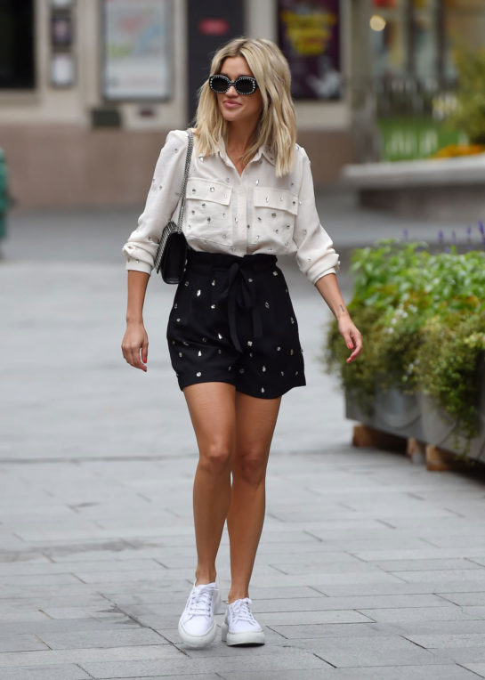 Ashley Roberts in Mini Skirt Leaves Heart Radio in London