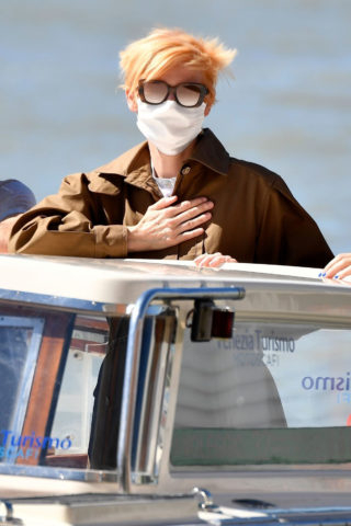 Tilda Swinton arrives at the Venice airport