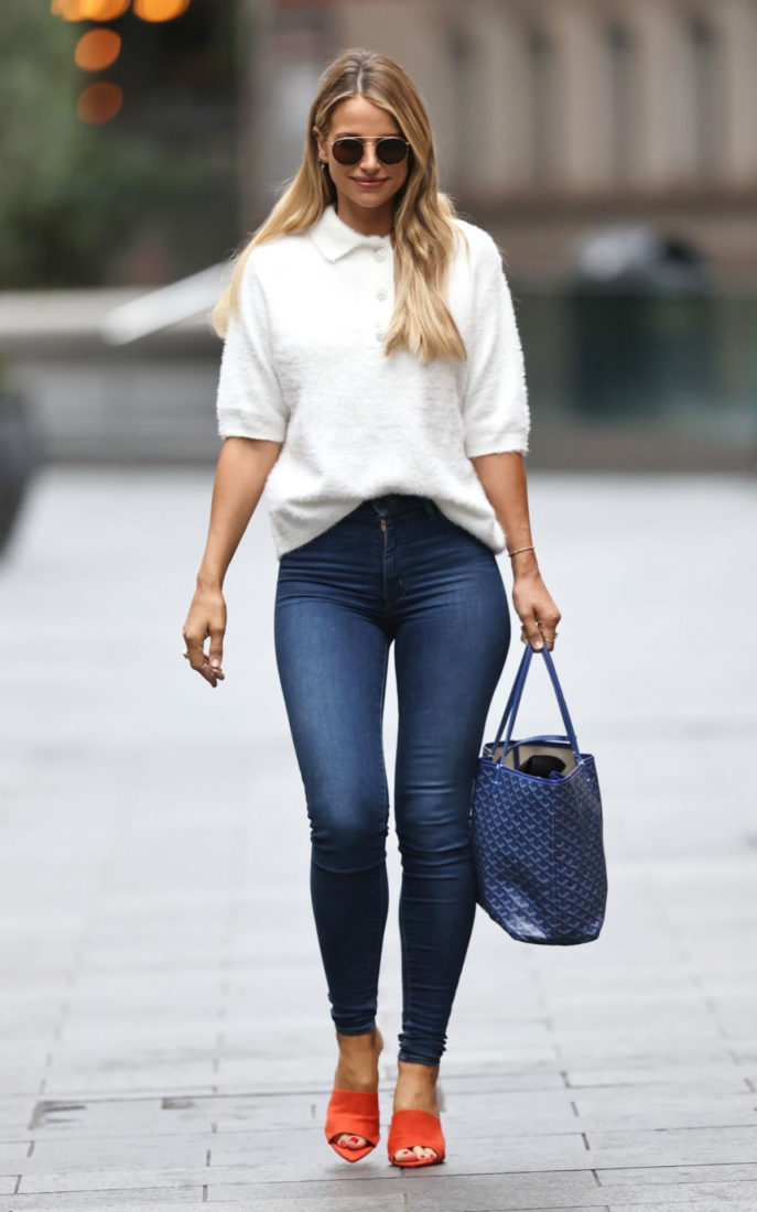Vogue Williams in Tight Denim Arrives at Heart Radio in London